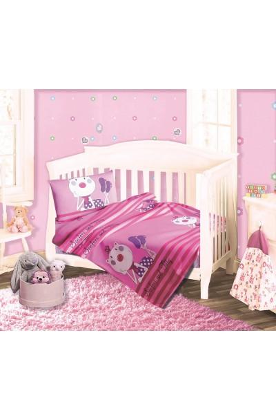 Детское постельное белье из трикотажа. Набор трикотаж РОЗОВЫЙ