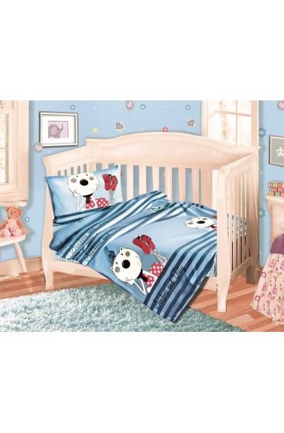 Детское постельное белье из трикотажа. Набор трикотаж СИНИЙ
