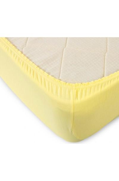Простыня трикотажная на резинке (желтый)